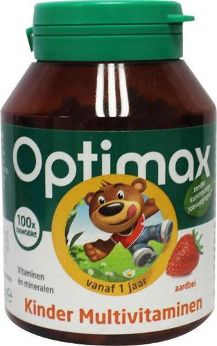 Optimax Kinder multi aardbei - 100 kauwtabletten