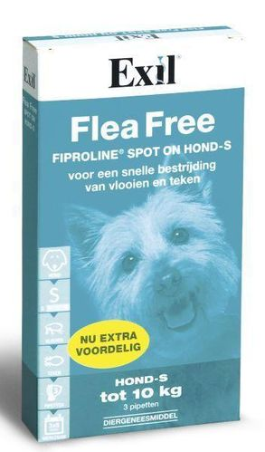 Exil Flea free fiproline spot on hond small  2-10 kg - 3 pipetten